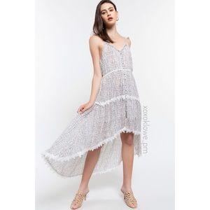 POL Floral Stripe Lace Trim High Low Midi Dress